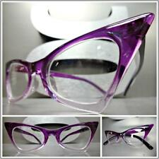 CLASSIC VINTAGE RETRO CAT EYE Style Clear Lens EYE GLASSES Small Purple Frame