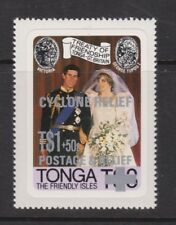 1981 Royal Wedding Charles & Diana MNH Stamp Set Tonga Cyclone Surch SG 808
