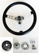 """1964 1965 Chevelle El Camino Black & Chrome Steering Wheel  14 1/2"""" SS Horn Cap"""