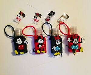 (4) New with tags Disney Mickey Minnie Mouse with Carrying Case Mini Sanitation
