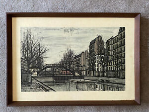 1960s Vintage BERNARD BUFFET Walnut Frame Mid-Century Painting Print Picture