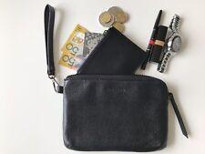 BLACK Genuine Leather Clutch Purse - Wristlet