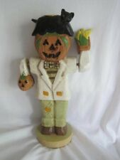 Silvestri Wooden Halloween Candle Holder Wood Scarecrow Pumpkin Arms Move