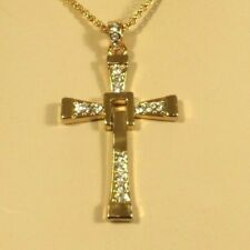 "Gold Cross Pendant Crystal Necklace Chain 25 1/4"" 2 "" extender Adj 18kgp"