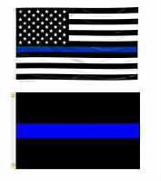 3x5 USA Police Memorial & Police Thin Blue Line Flag Wholesale Set 3'x5'