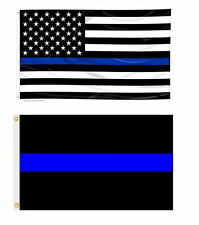 3x5 USA Police Memorial & Police Blue Line Flag Wholesale Set 3'x5'