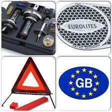 Travel Car Bulb & Fuse Kit & Blue GB Sticker & Eurolites Beam Benders & Triangle