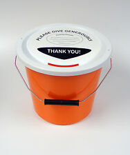 6 Charity Money Collection Buckets with Lids, Labels and Ties - Orange Wholesale