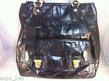 Coach Poppy Leather Pushlock Tote Black
