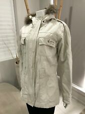 Womens STUSSY Beige Long Hooded Jacket Coat with Faux Fur Trim Size 12 (C1)