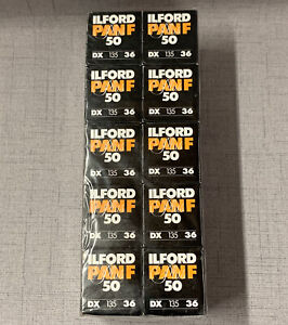 Pack of 10 NIB Expired Ilford Pan F Plus 50 36 B/W Film
