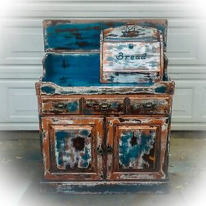 Farmhouse, Antique, Dry Sink, shabby chic, cabinet, blue, sales counter, retail
