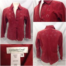 Coldwater Creek Jacket S Red 100% Leather EUC A147