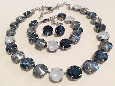 Swarovski crystal element Necklace Bracelet Earring Blues Jewelry Manhattan 12mm