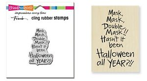 Stampendous DOUBLE MASK Wood Mounted OR Cling Rubber Stamp HALLOWEEN You Pick