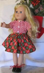 18 INCH DOLL RED CHRISTMAS PLAID SKIRT, AND CANDY CANE-STRIPED BLOUSE SET