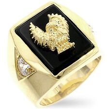 18K GOLD EP CZ ROUND CUT MENS EAGLE DRESS RING 13 or  Z 3/4