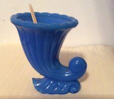 Vintage Blue Milk Glass Cornucopia Toothpick Holder
