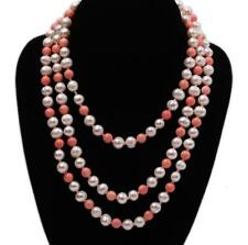 Chic 9.5mm Natural White Round Freshwater Pearl With Pink Coral Beads Necklace