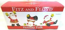 Fitz and Floyd Holiday Folk Santa Tumblers Ceramic Figurines Set of 3 w/Box 2009