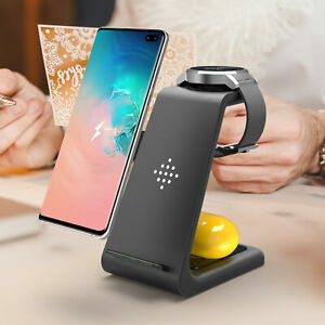 3IN1 15W Fast Qi Wireless Charger Charging Dock Stand For iPhone11 X Samsung S20