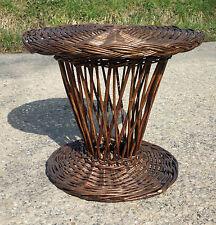 Table basse rotin osier ronde vintage déco salon de jardin véranda