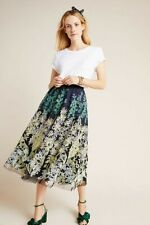 New Anthropologie Julie Embroidered Tulle Skirt $258 US Size 6, Blue & Green
