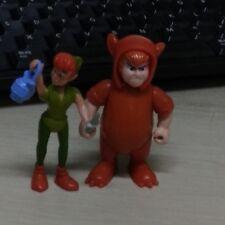 "2pcs DISNEY PETER PAN & Orange FIGURE ANIMATED CARTOON 2.5"" Action Figure Toy"