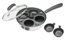 KitchenCraft Carbon Steel Induction Safe 4 Cup Egg Poacher Saute Pan 21 cm