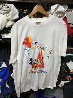 Vintage 90s White  Euro Disney Mickey Mouse Amusement Park Castle T Shirt L/xl