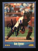 BOB BRENLY 1988 SCORE AUTOGRAPHED SIGNED AUTO BASEBALL CARD 134 GIANTS