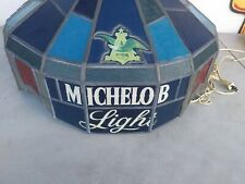 VINTAGE MICHELOB LIGHT HANGING STAINED FAUX GLASS LIGHT FIXTURE