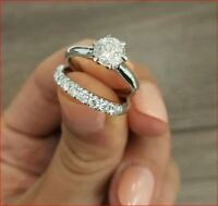 3.00 Ct Certified Round Cut Moissanite Engagement Ring & 2 Band 14k White Gold