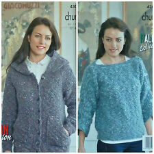 KNITTING PATTERN Ladies Hooded Moss Stitch Jacket & Jumper Chunky King Cole 4302