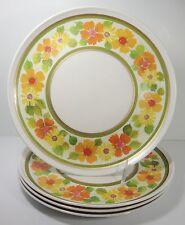 Imperial Golden Garden Dinner Plates Set 4 Vintage Melmac RV Camping Melamine