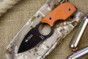 Kizlyar Supreme Amigo Z neck knife AUS-8 Black blade Orange G10 handle
