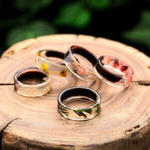 Handmade Wooden Resin Plant Ring Nature Flower Grass Ring Gift Size 6-10//