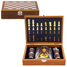 Jeux d'échecs en bois et Flasque à alcool en inox 270 ml - Coffret cadeau homme