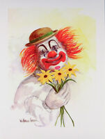 Vintage CLOWN WITH FLOWERS Happy Clown W HAROLD HANCOCK Mint Condition ART PRINT