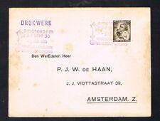 "Nederland 1935 Env, met 270 EF Stempel:""Botanisch Congres Amsterdam"""