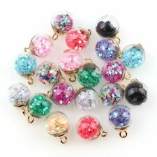 8x Universal Beads Lovely Star Glass Ball Pendant For Necklace DIY Random Color