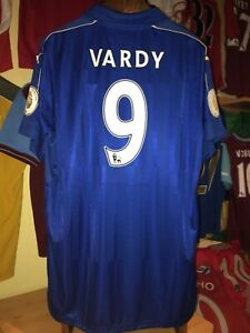 Jamie Vardy 2016/17 Leicester City home shirt SIZE XL w/ champ patches BRAND NEW