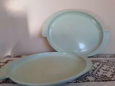 Vintage Boonton Mid Century Sea Foam Green - Set Of 2- Serving Platters