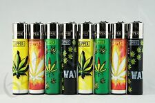8 pcs New Refillable Clipper Full Size Lighters Leaves Collection