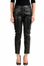 Maison Margiela MM6 100% Leather Black Women's Casual Pants US S IT 40