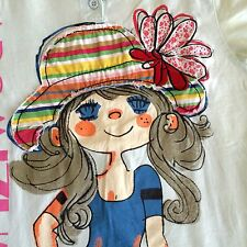 "Collectible Vintage Art T Shirt Handmade ""Girl n Hat"" Blue Women's Xs Embroidery"