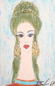 1969 Pastel painting expressionist woman portrait signed