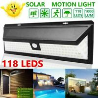 118LED Solar Power PIR Motion Sensor Wall Light Outdoor Garden Lamp Waterproof R