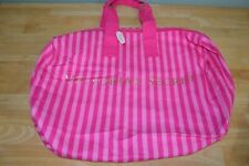 NWT Victoria's Secret Large Signature Pink Striped Overnight Gym Travel Bag Tote