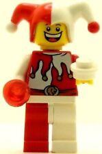 BN Lego mini figure Castle Kingdoms jester happy sad red /& white minifigure